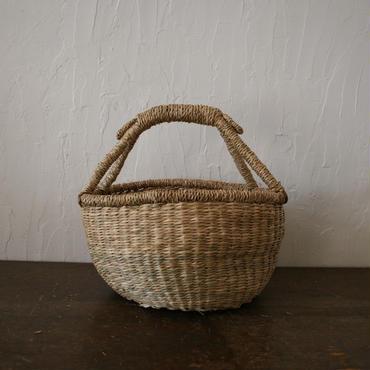 ベトナムのまるっこい手づくりかご handmade シーグラス ラウンド バスケットA  Sサイズ  AS-6