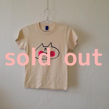 ▲送料無料 130サイズ/半そで ねこもぐらさんTシャツ 5.6oz uyoga cat mole ナチュラル ほっぺあり 809番目のねこもぐらさん