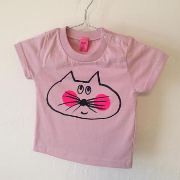 ▲送料無料 90サイズ/半そで ねこもぐらさんTシャツ 5.6oz uyoga cat mole モーブ ほっぺあり 789番目のねこもぐらさん