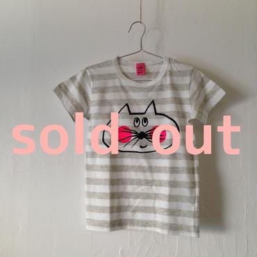 ▲送料無料 110サイズ/半そで ねこもぐらさんしましまTシャツE オーガニックコットン uyoga cat mole グレー×ホワイト ほっぺあり 870番目のねこもぐらさん