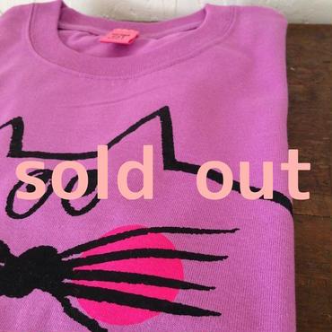 ▲送料無料 140サイズ/半そで ねこもぐらさんTシャツ 5.6oz uyoga cat mole ラベンダー ほっぺあり 611番目のねこもぐらさん