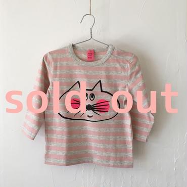 ▲送料無料 90サイズ/長そで ねこもぐらさんしましまTシャツE オーガニックコットン uyoga cat mole ライトピンク×グレー ボーダー ほっぺあり 987番目のねこもぐらさん