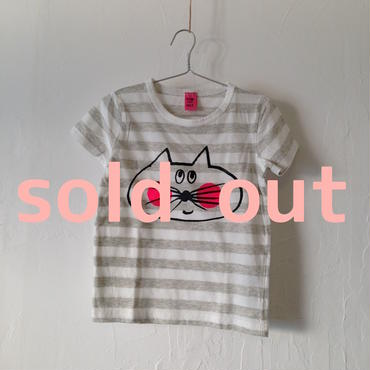 ▲送料無料 100サイズ/半そで ねこもぐらさんしましまTシャツE オーガニックコットン uyoga cat mole グレー×ホワイト ほっぺあり 868番目のねこもぐらさん