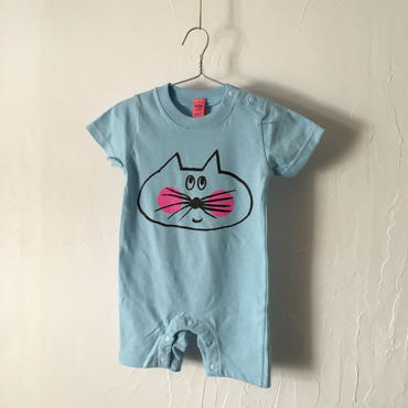 ▲送料無料 80サイズ/半そで ねこもぐらさん ロンパースB 5.6oz uyoga cat mole ライトブルー 1071番目のねこもぐらさん