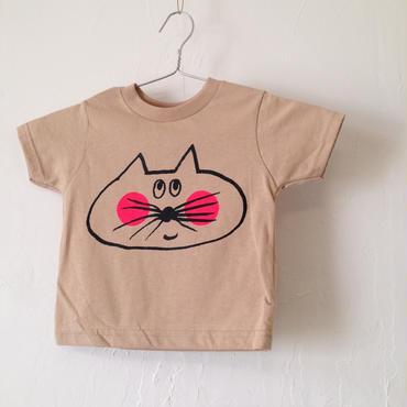 ▲送料無料  80サイズ/半そで ねこもぐらさんTシャツR 5.5oz uyoga cat mole カーキ ほっぺあり 763番目のねこもぐらさん