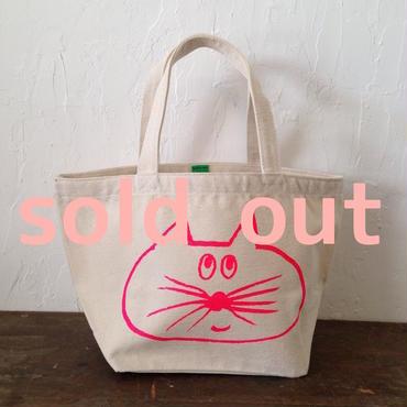 ▲送料無料 Sサイズ/キャンバス生地 ねこもぐらさん トートバッグ uyoga cat mole ナチュラル