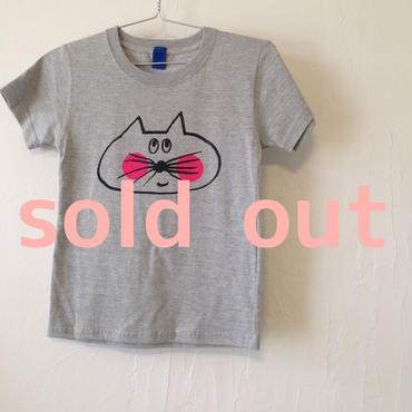 ▲送料無料 130サイズ/半そで ねこもぐらさんTシャツ 5.6oz uyoga cat mole ミックスグレー ほっぺあり 811番目のねこもぐらさん