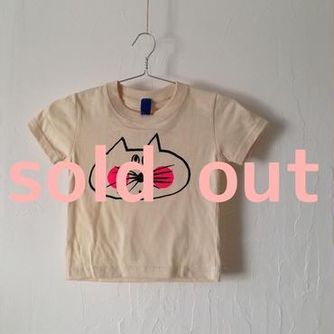 ▲送料無料 100サイズ/半そで ねこもぐらさんTシャツ 5.6oz uyoga cat mole ナチュラル ほっぺあり 856番目のねこもぐらさん