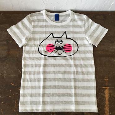 ▲送料無料 130サイズ/半そで ねこもぐらさんしましまTシャツE オーガニックコットン uyoga cat mole  ライトグレー×ホワイト ボーダー ほっぺあり 1027番目のねこもぐらさん