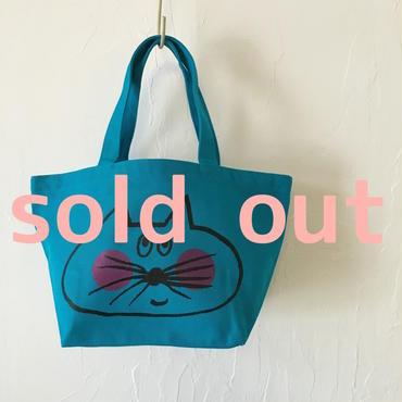 ▲送料無料 Sサイズ/キャンバス生地 ねこもぐらさん トートバッグ uyoga cat mole ターコイズブルー ほっぺあり 961番目のねこもぐらさん