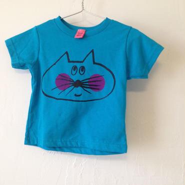 ▲送料無料 ▶︎OUTLET▶︎ 793番目のねこもぐらさん 80サイズ/半そで ねこもぐらさんTシャツR 5.5oz uyoga cat mole ターコイズ ほっぺあり
