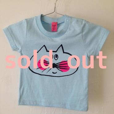 ▲送料無料 90サイズ/半そで ねこもぐらさんTシャツB 5.6oz uyoga cat mole ライトブルー ほっぺあり 796番目のねこもぐらさん