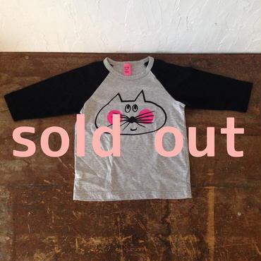 ▲送料無料 100サイズ/ラグラン七分そで ねこもぐらさんTシャツE オーガニックコットン uyoga cat mole グレー×ネイビー ほっぺあり 639番目のねこもぐらさん