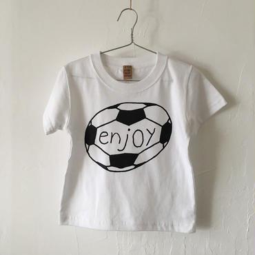 ▲送料無料 100サイズ/半そで uyoga enjoy soccer Tシャツ 5.6oz ホワイト