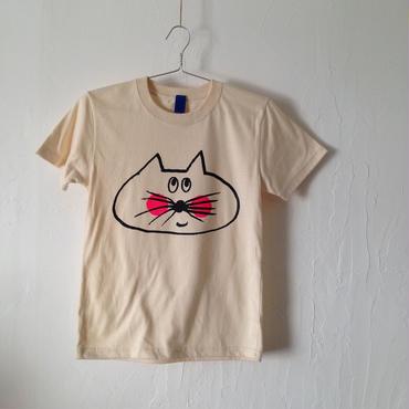 ▲送料無料 140サイズ/半そで ねこもぐらさんTシャツ 5.6oz uyoga cat mole ナチュラル ほっぺあり 861番目のねこもぐらさん