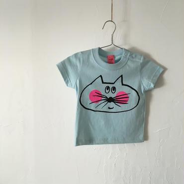 ▲送料無料 ▶︎outlet▶︎ 70サイズ/半そで ねこもぐらさんTシャツB uyoga cat mole ライトブルー 498番目のねこもぐらさん