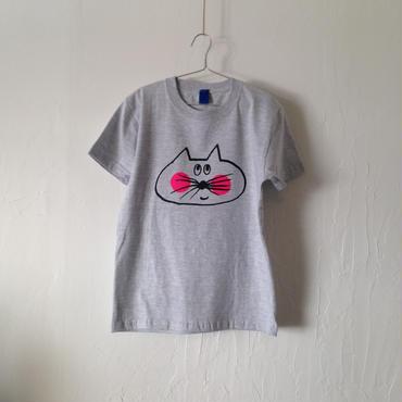 ▲送料無料 140サイズ/半そで ねこもぐらさんTシャツ 5.6oz uyoga cat mole アッシュ ほっぺあり 802番目のねこもぐらさん