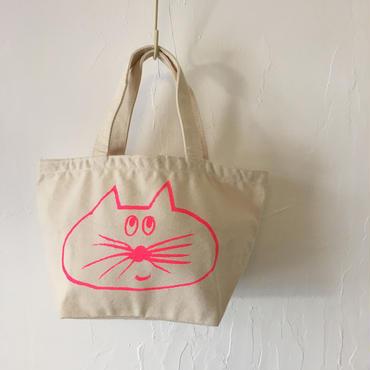 ▲送料無料 Sサイズ/キャンバス生地 ねこもぐらさん トートバッグ uyoga cat mole ナチュラル ほっぺなし/蛍光ピンク 491番目のねこもぐらさん