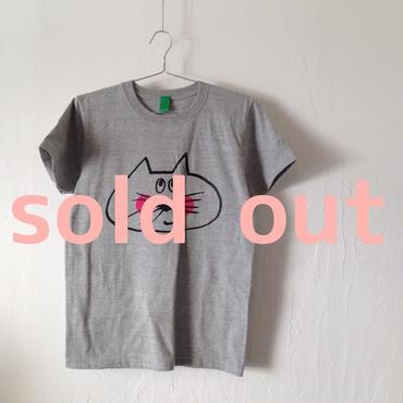 ▲送料無料 150サイズ/半そで ねこもぐらさんTシャツ 5.6oz uyoga cat mole ミックスグレー ほっぺあり 862番目のねこもぐらさん