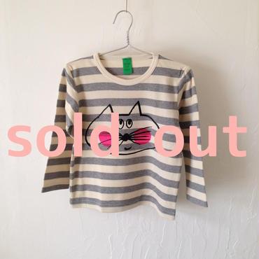 ▲送料無料 100サイズ/長そで ねこもぐらさんしましま起毛TシャツE オーガニックコットン uyoga cat mole グレーしましま (ボーダー) ほっぺあり 940番目のねこもぐらさん