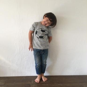 ▲送料無料 110サイズ/半そで uyoga enjoy soccer Tシャツ 5.6oz ミックスグレー