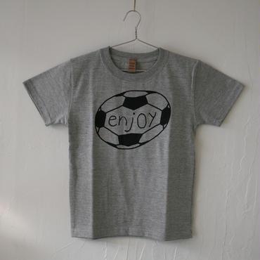 ▲送料無料 130サイズ/半そで uyoga enjoy soccer Tシャツ 5.6oz ミックスグレー