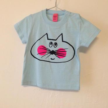 ▲送料無料  80サイズ/半そで ねこもぐらさんTシャツB 5.6oz uyoga cat mole ライトブルー ほっぺあり795番目のねこもぐらさん