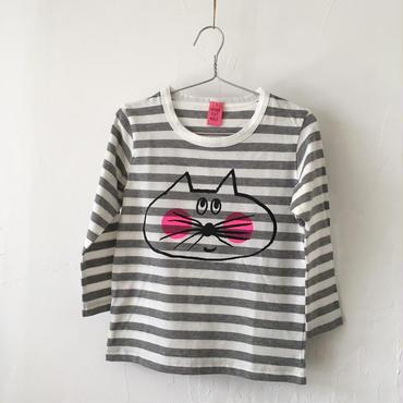 ▲送料無料 100サイズ/長そで ねこもぐらさんしましまTシャツE オーガニックコットン uyoga cat mole グレー×ホワイト ボーダー ほっぺあり 1110番目のねこもぐらさん