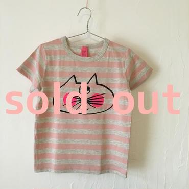 ▲送料無料 110サイズ/半そで ねこもぐらさんしましまTシャツE オーガニックコットン uyoga cat mole ライトピンク×グレー ボーダー ほっぺあり 1002番目のねこもぐらさん
