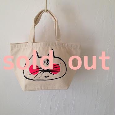 ▲送料無料 Sサイズ/キャンバス生地 ねこもぐらさん トートバッグ uyoga cat mole ナチュラル ほっぺあり 863番目のねこもぐらさん