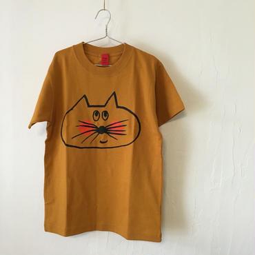 ▲送料無料 140サイズ/半そで ねこもぐらさんTシャツC 6.2oz uyoga cat mole マスタード ほっぺあり 1041番目のねこもぐらさん