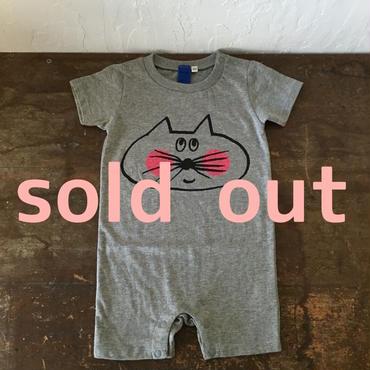 ▲送料無料 80サイズ/半そで ねこもぐらさん ロンパース 5.0oz uyoga cat mole ヘザーグレー ほっぺあり 488番目のねこもぐらさん