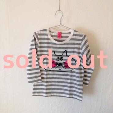 ▲送料無料 100サイズ/長そで ねこもぐらさんしましまTシャツE オーガニックコットン uyoga cat mole グレーしましま (ボーダー) ほっぺあり 896番目のねこもぐらさん