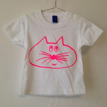 ▲送料無料  80サイズ/半そで ねこもぐらさんTシャツB 5.6oz uyoga cat mole ホワイト ほっぺなし/蛍光ピンク 767番目のねこもぐらさん