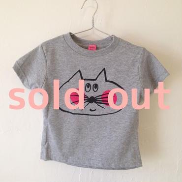 ▲送料無料 90サイズ/半そで ねこもぐらさんTシャツR 5.5oz uyoga cat mole ヘザーグレー ほっぺあり 769番目のねこもぐらさん