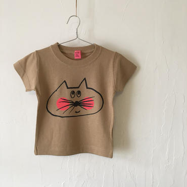 ▲送料無料 90サイズ/半そで ねこもぐらさんTシャツC 6.2oz uyoga cat mole キャメル ほっぺあり 912番目のねこもぐらさん