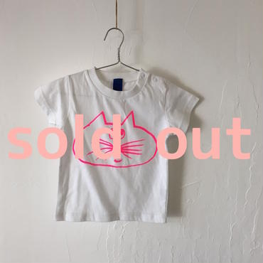 ▲送料無料 80サイズ/半そで ねこもぐらさんTシャツ 6.2oz uyoga cat mole ホワイト ほっぺなし/蛍光ピンク 485番目のねこもぐらさん