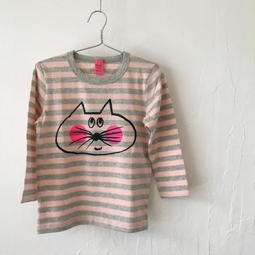 ▲送料無料 100サイズ/長そで ねこもぐらさんしましまTシャツE オーガニックコットン uyoga cat mole ベビーピンク×グレー ボーダー ほっぺあり 1109番目のねこもぐらさん