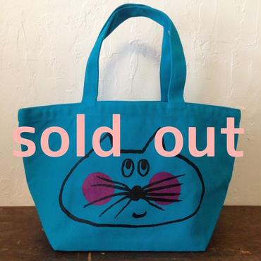 ▲送料無料 Sサイズ/キャンバス生地 ねこもぐらさん トートバッグ uyoga cat mole ターコイズブルー ほっぺあり 813番目のねこもぐらさん