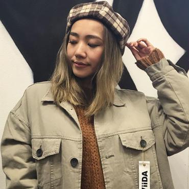 ViiDA チェックベレー帽(brown)