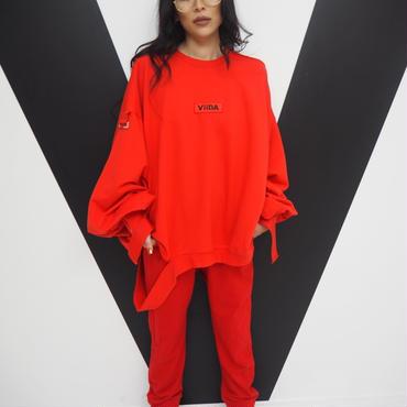 バックポケット付きジョガーパンツ(red)