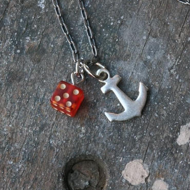 Vintage Bakelite Dice and Anchor Necklace