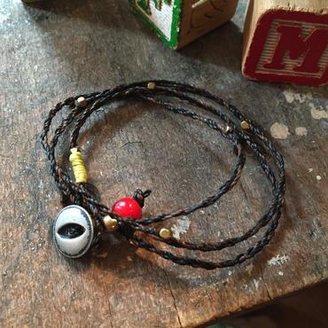 Vintage Button Bracelet/Necklace, BLK/BRN