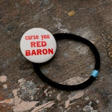 "Message Pin Hair Elastic ""Curse you Red Baron"""