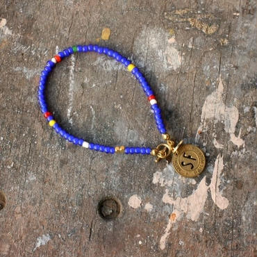 Old Beads Bracelet with Vintage Token, Blue