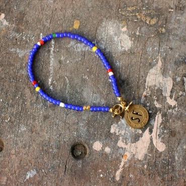 Old Beads Bracelet with Vintage Token, Blue