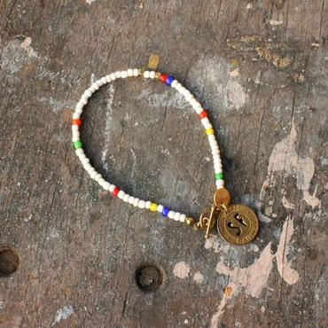 Old Beads Bracelet with Vintage Token, White