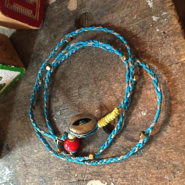 Vintage Metal Button Bracelet/Necklace, Turquoise