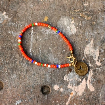 Old Beads Bracelet with Vintage Token, Orange