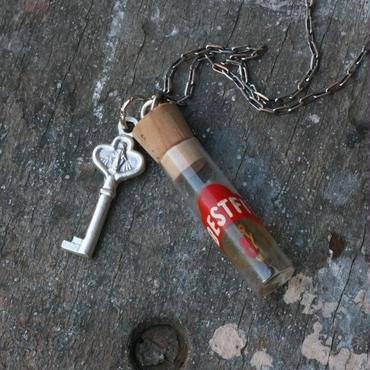 Vintage Vial & Key Charm Necklace